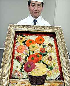 Réplica de quadro de Van Gogh feito de sushi