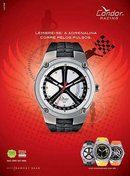 Relógios Condor Racing, da Dumont.