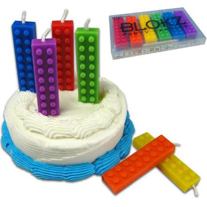 Velas em formato de pecas de Lego