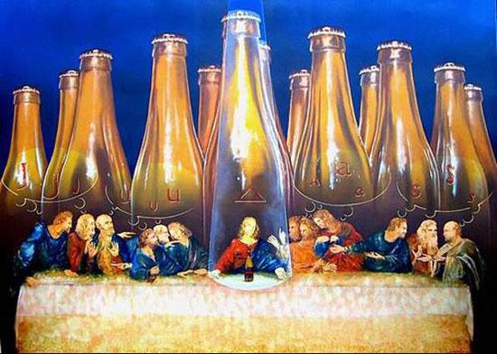 A Santa Ceia retratada com cerveja