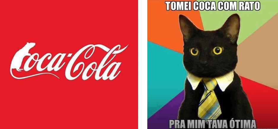 Brincadeiras com o logo da Coca-Cola que viralizaram na internet por cnta da polêmica cabeça de rato encontrada dentro de uma garrafa do refrigerante