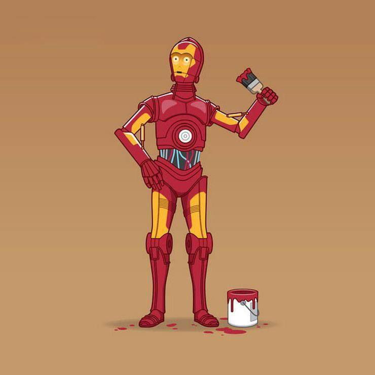 C3PO Iron man Ilustração