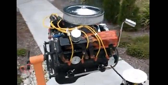 Churrasqueria criativa fabricada a partir de um motor 6 cilindros