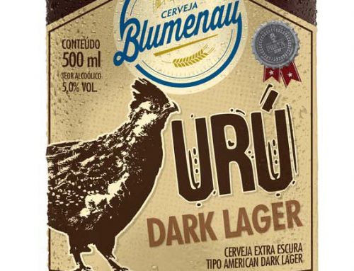 Urú Dark Lager. Cerveja escura, com café.