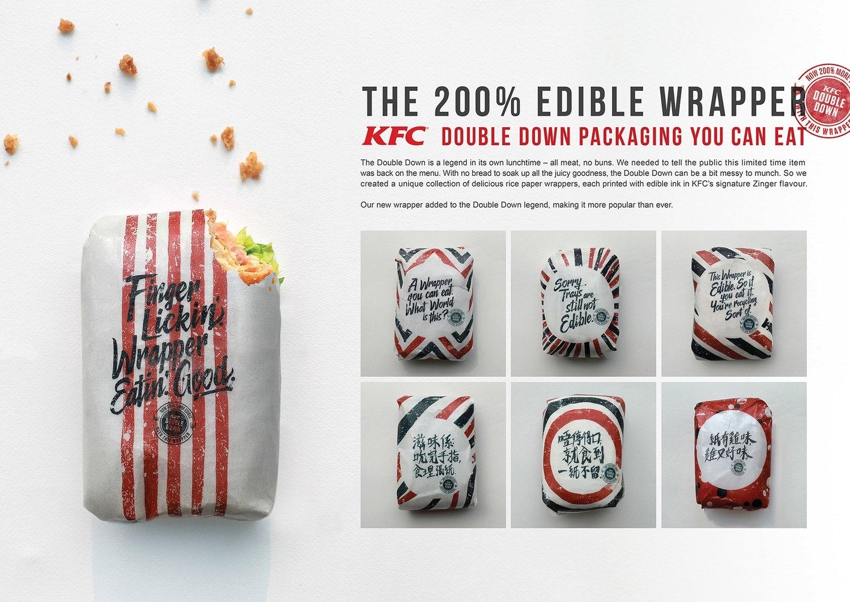 Embalagem comestível com tinta comestível para consumo humano lanche kfc
