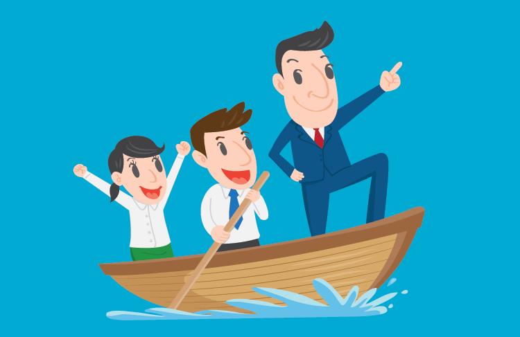 Imagem conceitual de liderança positiva com um barco a remo com um executivo líder indicando com o dedo algum lugar à frente, e dois subordinados felizes remando o barco.