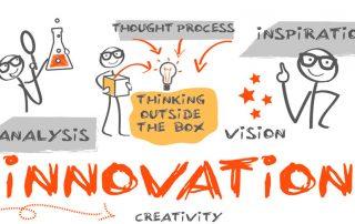 Imagem desenhada com icones conceituais de inovação e criatividade com bonecos interagindo com objetos que remetem a ideia e motivação