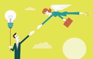 Investidor-anjo voando e dando a mão para um empreendedor. Imagem vetorial, desenho conceitual