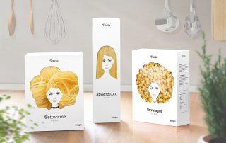 Embalagem criativa de macarrão com rosto de mulheres criada pelo russo Nikita