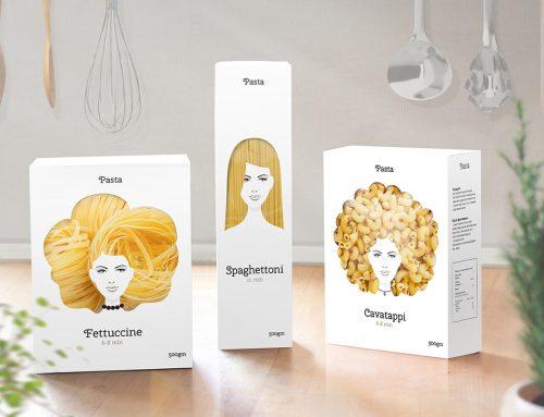 Embalagens de macarrão que celebram a diversidade do cabelo feminino