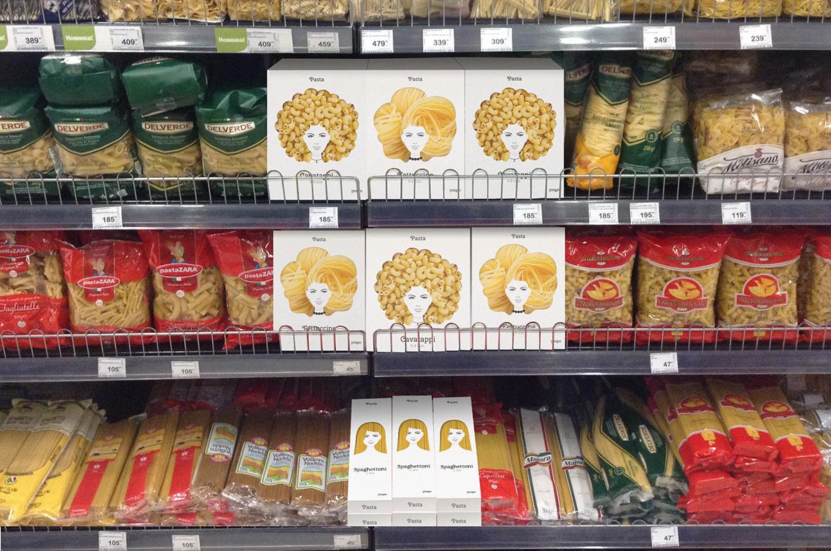 Embalagem criativa de macarrão com rosto de mulheres criada pelo russo Nikita na Gôndola PDV
