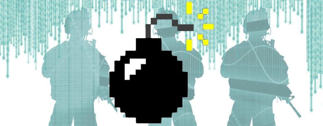 Imagem conceitual com uma bomba em formato de pixel e soldados armados pixealizados