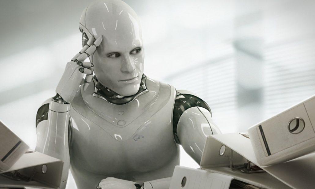 Robô com feições humanas pensando