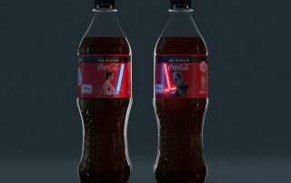 garrafas com rótulos que acendem da Coca-cola Star Wars
