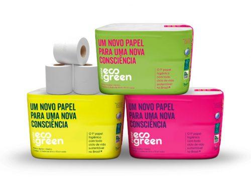Papel higiênico com embalagem plástica que vira adubo
