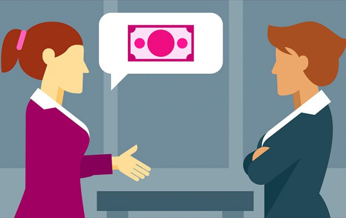 Ilustração que mostra duas mulheres, uma pedindo aumento a outra.